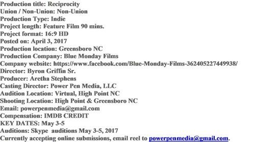 Blue Monday Films, Open Casting Calls, pre production started for feature