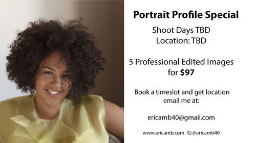 "Did you know that Professionally shot profile pics increase your chances of being noticed?!? It's time for you to hit refresh and capture exposure to your blog, website and social media.  Book a ""Perfect Profile"" session with me now, so we can develop your brand profile image!  Email me today: