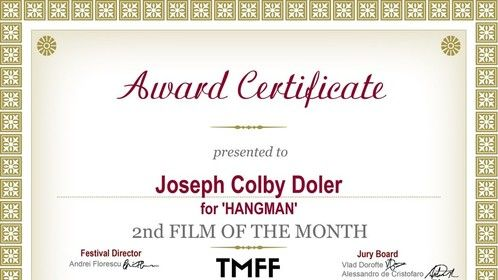 """2nd Best Film of the Month Award Certificate from TMFF for """"Hangman"""""""