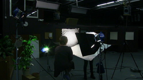 """""""College Channel"""" interview setup."""