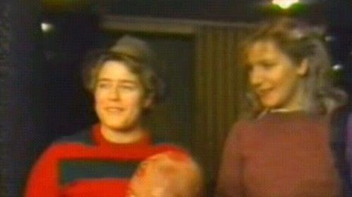 Me & my friend Shani being interviewed for the Fangoria Weekend of Horrors 1986 video.
