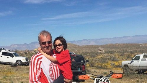At a desert race with my daughter.