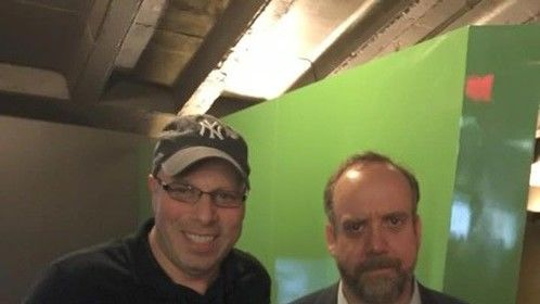 """Steve Okrepky talking with Paul Giamatti about his show """"Billions"""""""
