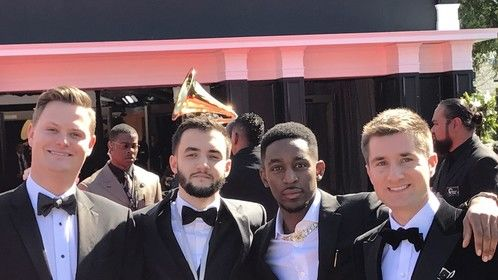 Zach Nieman Grammys Red Carpet (Right) with Damiano Starr (Middle Right), Josh Williams AKA Psionics (Middle Left), Michael Paradiso AKA Soul Pacific (Left)