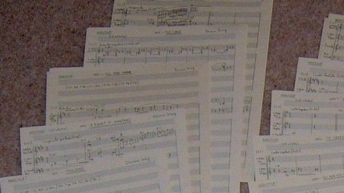 Manuscripts from the first reel of my score to Insectula (2014)