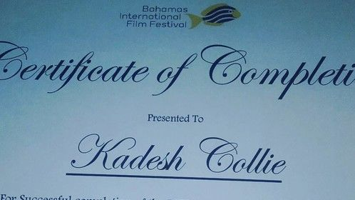Certificate from The Bahamas international film festival for their film workshop