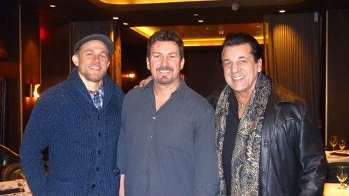 actor Charlie Hunnam and actor Chuck Zito with Richard Wilk