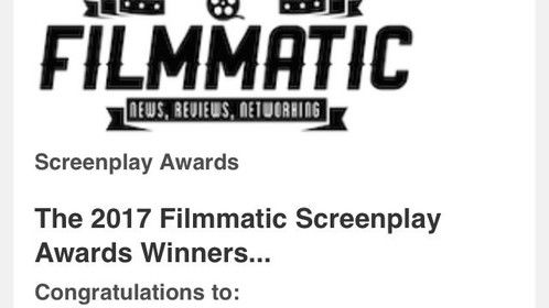"""My Action/Adventure screenplay """"RECTITUDE' ended up a 3rd place finalist in the 'Filmmatic Screenplay Awards.' That should land me an agent let's hope."""