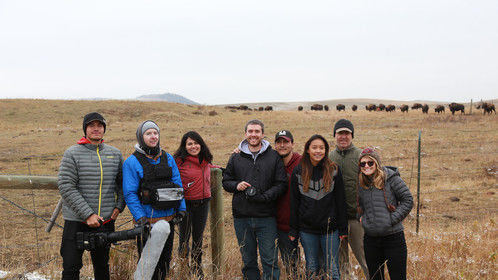Crew photo after filming two short films during the fall Blackfeet buffalo drive.