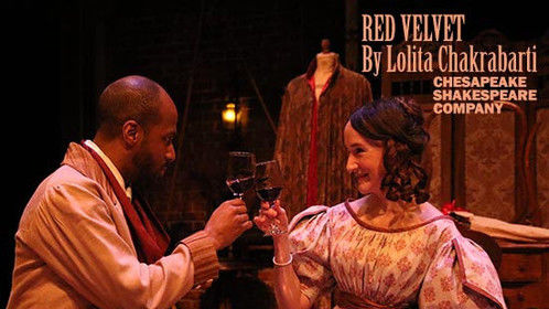 "A production photo of myself as Ellen Tree and Christian Gibbs as Ira Aldridge in Chesapeake Shakespeare Company's acclaimed 2018 Maryland premier production of ""Red Velvet""!"