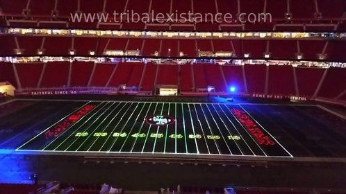 Stadium Corporate Event Facebook Extreme Laser Graphic Animation Display Rental Production Services Worldwide. Custom large scale high power Class IV laser graphic animation provided by Tribal Existance Productions Worldwide