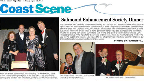 MC'ing Salmonid Enhancement GALA Dinner Auction that raise $20,000 for salmon hatchery.