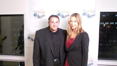 Another shot of Award-Winning Filmmaker Sam Borowski on the Red Carpet with Oscar-Winner Mira Sorvino.