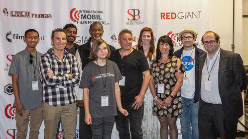 All of the attending mobile filmmakers during #MFF2018SanDiego with Tim Russ and Brian McLane.