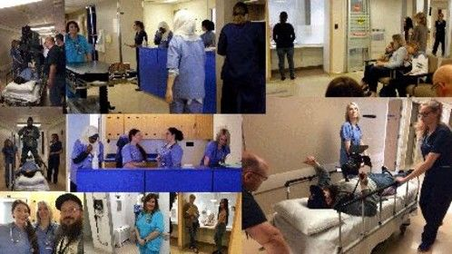 Shots from filming of Blue Love at the Hospital