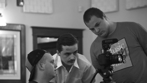 Will Jacobs on the set of Denouement.