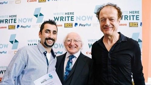 Jay Red, Michael D Higgins (president of Ireland) and Niall Stokes (editor of Hotpress Magazine 2018)
