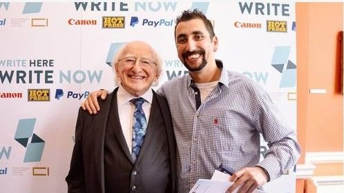The President of Ireland Michael D Higgins presenting myself with a national writing award a few weeks ago. Truly Honoured :)