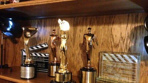 Awards on the shelf.