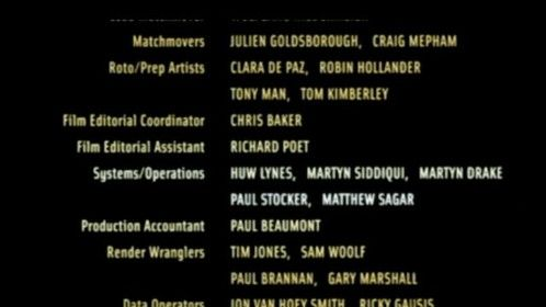 Finally, a credit given for Tomb Raider 2: The Cradle of Life!