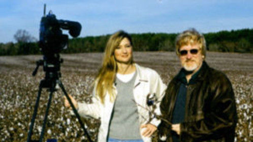 Faith Fuller, Producer/Director of Briars in the Cotton Patch, with Michael Booth in the cotton fields of south Georgia.