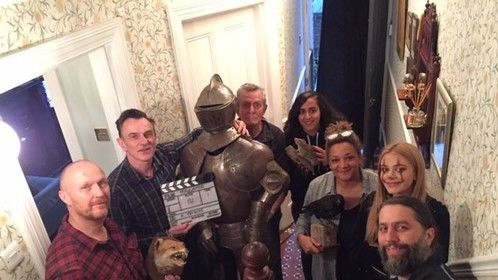 Cast and crew wrap photo on the set of 'Head Waiter' 15 Second Horror film
