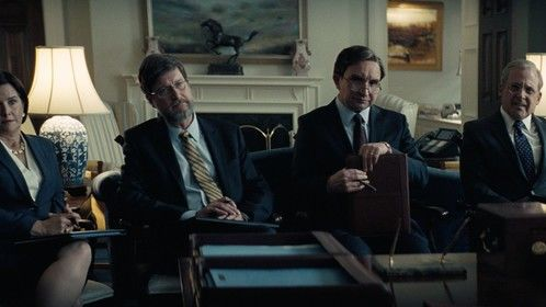 (From L to R) Camille James Harman as Mary Matalin, Don McManus as David Addington, Eddie Marsan as Paul Wolfowitz, and Steve Carell as Donald Rumsfeld in Adam McKay's VICE, an Annapurna Pictures release. Credit : Annapurna Pictures 2018 © Annapurna Pictures, LLC. All Rights Reserved.