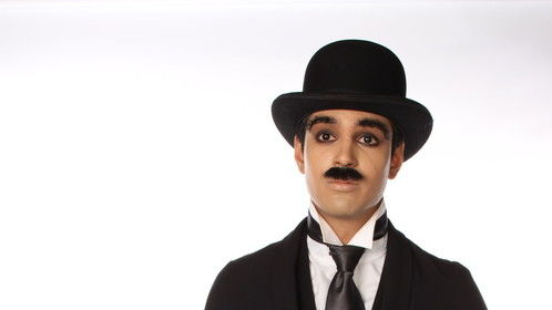 """This look represents my recreation of Robert Downey Jr's portrayal of Charlie Chaplin in the film """"Chaplin"""" from 1992.  I created facial postiche pieces for the eyebrows and moustache, designed the costume, and designed and applied the makeup to complete the transformation."""