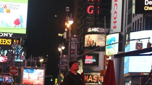 Filming in Times Square