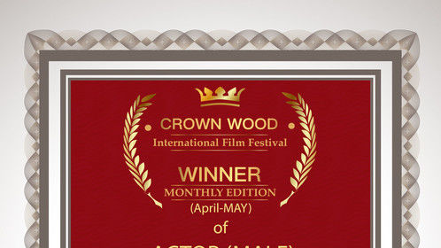 Best Actor Johnny Farrell at the CrownWood International Film Festival 2019