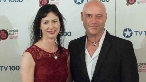 Fiona Ashe with fellow Irish director Declan Cassidy at the closing gala of the Cluj Film Festival in Romania, 2016.
