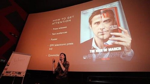 Director Fiona Ashe giving a talk on low budget filmmaking at the Cluj Film Festival, 2015.