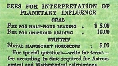 Print ad for a horoscopic reading by Evangeline Adams (1915).