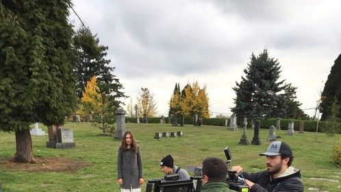 "Mountain View Cemetery, Vancouver, BC. On the set of ""The Shop Around the Corner."""