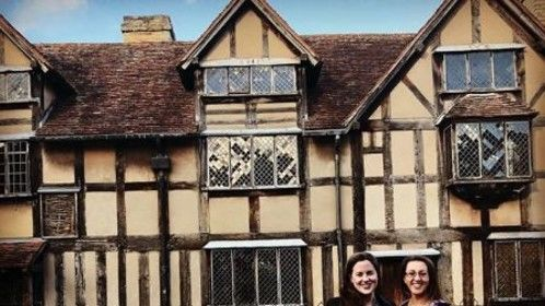 In front of Shakespeare's Birthplace with my friend Philippa