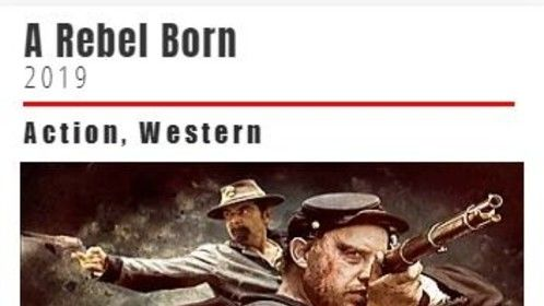 "The movie poster for our upcoming film ""A Rebel Born."" Screenplay  (and some of the music) by Lochlainn Seabrook, director/producer Christopher Forbes, distributor ITN Films, London, UK."