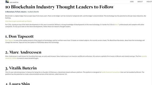 Top 5 Global Blockchain Thought Leader