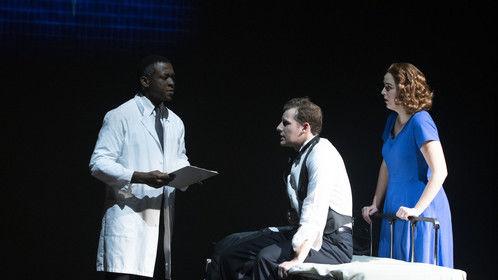 London Carlisle as Dr. Bennett, Benjamin Strickland as Edward Bloom, and Jessi Ann Rogers as Sandra Bloom in Big Fish at Auburn University.