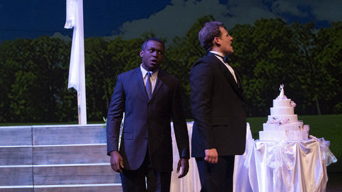 London Carlisle as Dr. Bennett and Benjamin Strickland as Edward Bloom in Big Fish at Auburn University.