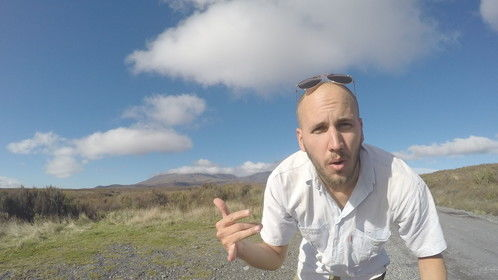Filming Back to the Peaceful Sea at the Tongariro Crossing in New Zealand.