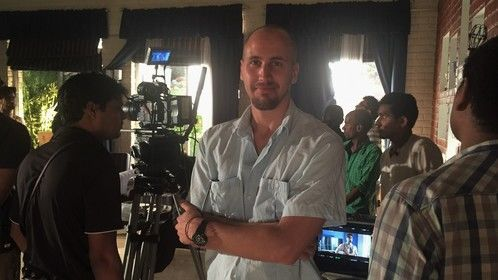 On set during Back to the Peaceful Sea in Mumbai, India.