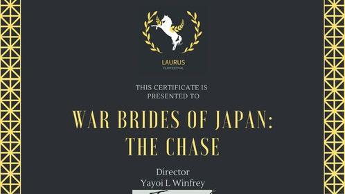 'War Brides of Japan, a docu*memory: The Chase' trailer won a participation certificate from Laurus Film Festival.  #warbridesofjapan www.warbridesofjapan.com