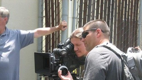 Pulling focus at Cinegear Expo, 2010. With Eric Harnden.