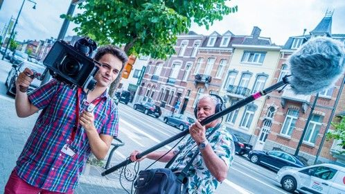 Filming B-roll for an interview for Hasselt