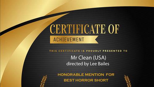 Honourable mention - Best Short Horror - Independent Shorts Awards Film Festival March 2020