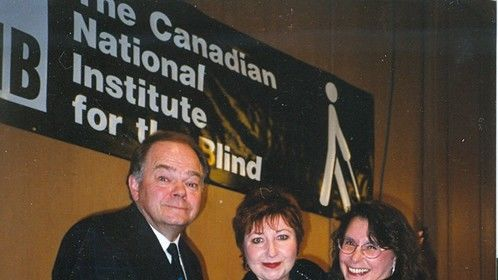 With comedian Luba Goy and anchor Daryl Janz at a fundraiser for The Canadian National Institute for the Blind.