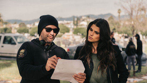 Directing actor Nicole Pedra on location of the soon to be streaming comedy series FRONT MEN.