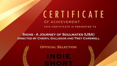 Certificate of Achievement - First Time Director