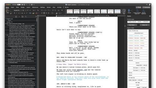 Formatted screenplay in Normal view.
