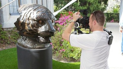 Shooting the Lion Statue at the Playboy Mansion in 2012